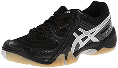 ASICS Women's Gel Dominion Volley Ball Shoe,Black/Silver/White,5 M US