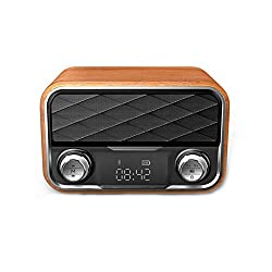 JOMAY Retro Bluetooth Speaker Vintage Radio, Portable Wooden FM Radio,Digital Tuning with Antenna Old Fashioned Classic Style Loud Volume Wireless Connection, TF Card USB Port& AUX Input
