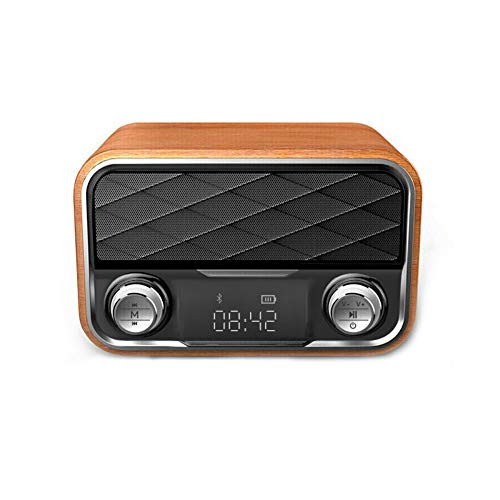 JOMAY Retro Bluetooth Speaker Vintage Radio, Portable Wooden FM Radio,Digital Tuning with Antenna Old Fashioned Classic Style Loud Volume Wireless Connection, TF Card USB Port& AUX Input (Vintage Clock Radio With Alarm)