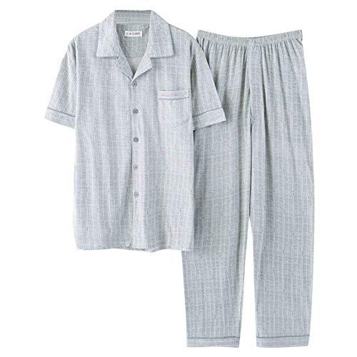 Homewear comode corta a pantaloni Bottone da Chemise cotone in grigio lungo Loungewear Man Taglie con a Abbigliamento manica in Set notte Pajama tqgfUU