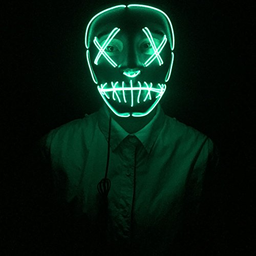Dasheng Frightening Rave Light Up LED EL Wire Mask Kit for Dance Festival Party Halloween Cosplay (Green)]()