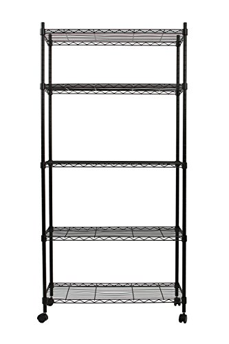 Finnhomy 5 Tier Wire Shelving Unit, Adjustable Steel Wire Rack Shelving, 5 Shelves Storage Rack with Wheels or Stable Leveling Feet, Black (Leveling Feet With Wheels compare prices)