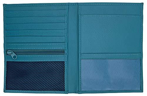 Teal RFID Blocking Genuine Leather Travel Passport Wallet Holder