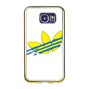 Adidas Logo Phone Case for Samsung Galaxy S6 Bright Cute Adidas Logo Gold Frame TPU Soft Phone Case Cover