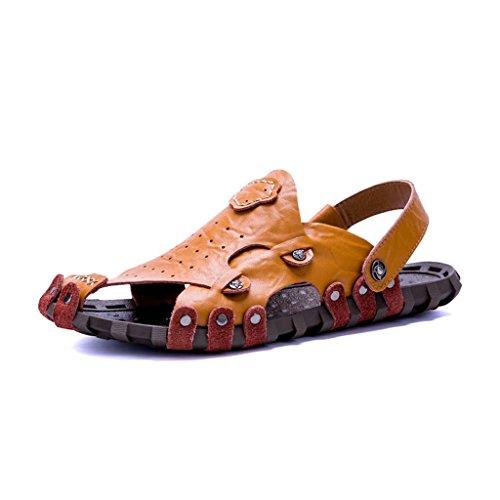 ZXCV Zapatos al aire libre Men 's Shoes sandalias de cuero zapatos de playa Men' s casual transpirable cuero Open - toed Sandals personalidad Marrón