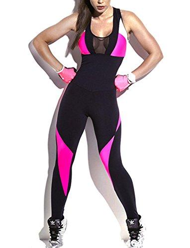SEASUM Women Yoga Bodysuit Sleevesless Sport One-Piece Backless Sexy Bodycon Rompers Jumpsuit XL