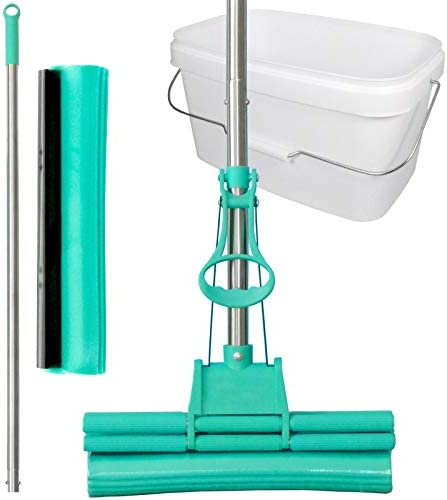 Green Mop Set 30-02 - Green Mop 30 cm + Stiel + Ersatzschwammm + 10 Liter Eimer in weiß - Doppelwringer Mop saugstarker WischMop PVA Bodenwischer