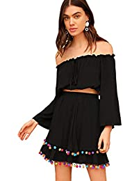 d811d1329 Women's 2 Piece Outfit Fringe Trim Crop Top Skirt Set · SheIn
