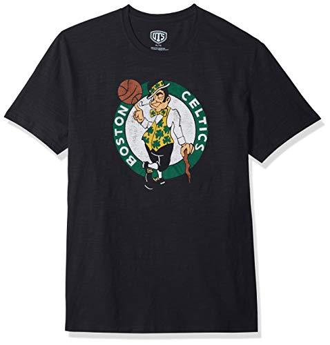 (NBA Boston Celtics Male OTS Slub Distressed Tee, Jet Black, Medium)