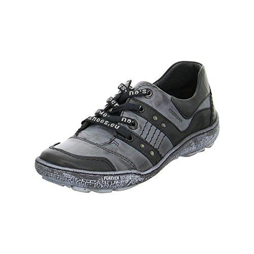 Kacper 23954217681 - Zapatos de cordones de Piel para mujer Negro