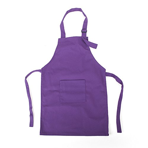 Opromo Colorful Cotton Canvas Kids Aprons with Pocket, Artist Apron & Chef Apron(S-XXL)-Purple-S