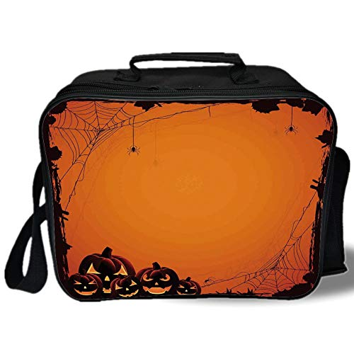 Insulated Lunch Bag,Halloween Decorations,Grunge Spider Web Pumpkins Horror Time of Year Trick or Treat,Orange Seal Brown,for Work/School/Picnic, Grey -
