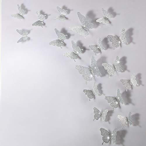 Espejos mariposas 3D 48 unidades plata