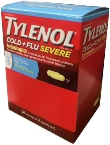 Tylenol Cold Flu Severe 50 packs of 2 Caplets in Each pack, Dispenser Pouch Box