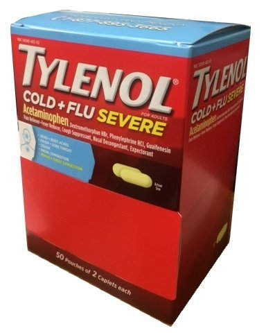 Tylenol Cold Flu Severe 50 packs of 2 Caplets in Each pack, Dispenser Pouch Box