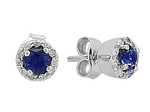 Boucles d'Oreilles Saphirs et Diamants-Femme- or Blanc 205E0003