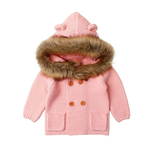 Baby Boy Knitting Cardigan Warm Newborn Infant Sweaters Long Sleeve Hooded Coat Jacket Kids Clothing Outfits ()
