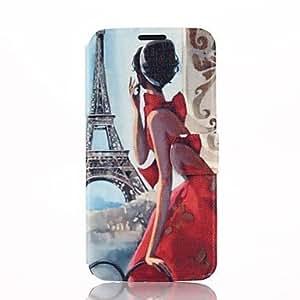 GX Torre Eiffel y el patrón de belleza chica caso de cuero de la PU con el soporte para la galaxia s6 borde g9250