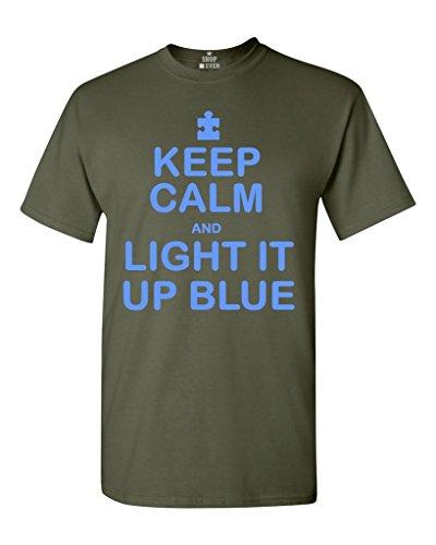 Keep Calm Light Up Blue T-shirt Autism Awareness Month Shirts