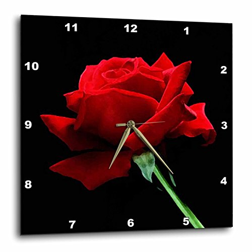 3dRose dpp_3651_3 Red Rose Wall Clock, 15 by 15-Inch ()