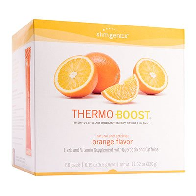 SlimGenics Thermo-Boost | Thermogenic Antioxidant Energy Boosting Powder Drink Mix - Anti-Aging Properties, Increases Metabolism, Promotes Weight Loss, Fights Fatigue and Inflammation (Orange) - 60 ct