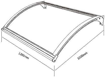 versch 1200 x 900 mm, silber Farben SCHARTEC Aluminium-Vordach als Haust/ürvordach in 120 oder 150 cm Vordach f/ür Haust/ür /Überdachung
