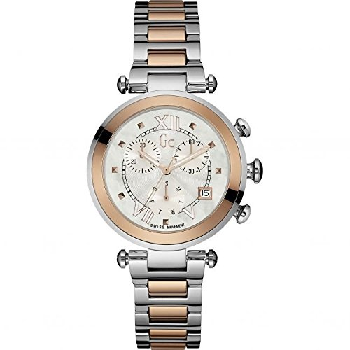 Guess Collection Women's Lady Chic Multicolor Two Tone Steel Bracelet Steel Case Quartz Watch Y05002M1