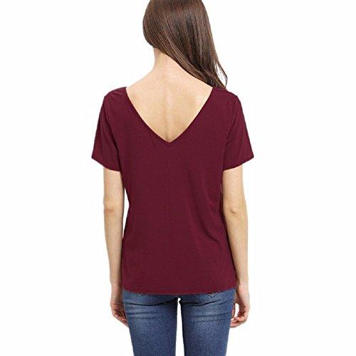 Blusas de Mujer de Moda 2017 Camiseta Lace Up Camisa Manga Corta V Cuello T-shirt Verano Casual Color Sólido Top - Landove: Amazon.es: Ropa y accesorios