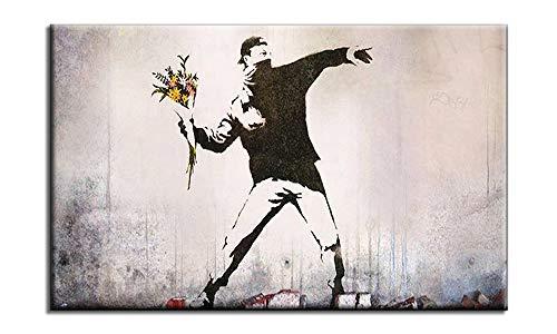 BOTTLEYK Cuadro decoracion Arte Pared Salon Abstractos hogar Moderno - Impresion da Lienzo XXL - Banksy Doodle Boy con Flores - Mural no Tejido Impresion Artistica Imagen Grafica a-A-8827-c-m,50x70cm