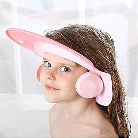 Baby Bath Cap, Sunhat Visor Adjustable Durable Silicone Soft Hat Shampoo Protection for Bathing Head Wear (Blue) SOFTBATFY