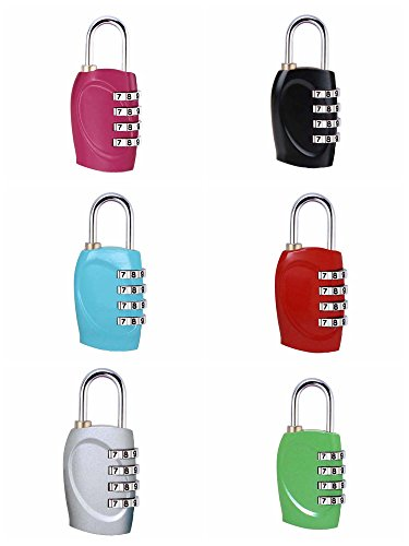 ZHW 4 Digit Combination Steel Padlocks - Approved Travel Lock for Suitcases & Baggage (6 Pack) by ZHW