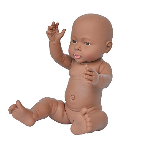 Rifi African American Baby Doll, 16 inches Nontoxic Naked Latex Rotocast Blcak Baby Doll Girl