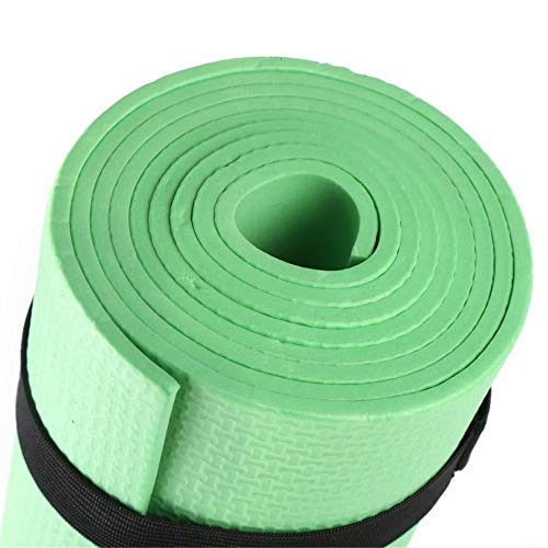 Alysontech Yoga General Purpose 4mm Extra Thick High Density Anti-Tear Exercise Yoga Mat with Carrying Strap (Green)