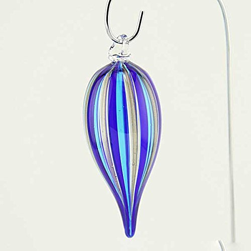 Stripe Glass Ornament (Murano Glass Icicle Christmas Ornament - Blue Stripes)