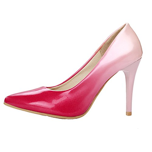 YE Women Pointed Toe High Heel Patent Leather Office Lady Court Shoes Gradient Color Pumps Pink J9KaisS