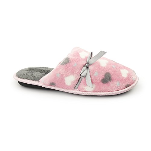 Fluffys CABANA Ladies Mule Slippers Pink Pink c9dxKFc
