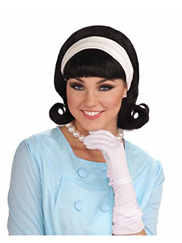 Forum Novelties Womens 50's Flip Wig with Headband, Black, One Size -