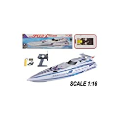 Have fun with the RC Speed X Cyclone RTR Boat. You can cruise around a pool, pond, or lake at high speeds with this beauty. Features Forward/Reverse, Left/Right, Stop, Full Function Transmitter, and Super sleek body style. Includes Boat (35.5...