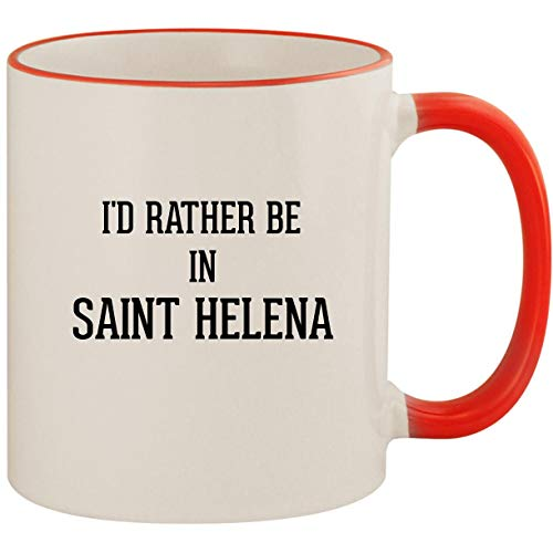 (I'd Rather Be In SAINT HELENA - 11oz Ceramic Colored Handle & Rim Coffee Mug Cup,)