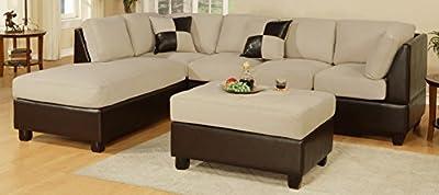 Bobkona Hungtinton Microfiber/Faux Leather 3-Piece Sectional Sofa Set