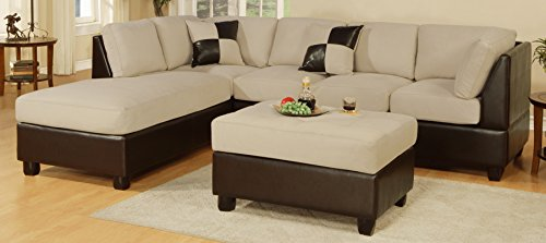 Poundex Bobkona Hungtinton Microfiber/Faux Leather 3-Piece Sectional Sofa Set