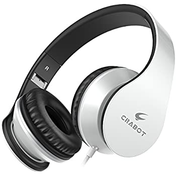 Headphones, Crabot I65 On-Ear Stereo Sound Bass Wired Portable Foldable Headsets with Microphone and Volume Control for iPhone iPad Android Smartphones Laptop Tablet for Kids or Adults (White)