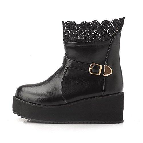 AgooLar Damen Mittler Absatz Rein Rund Zehe Ziehen auf Stiefel, Schwarz, 37