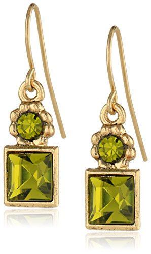 1928 Jewelry Green Square Drop Earrings (Square Earrings Wire)