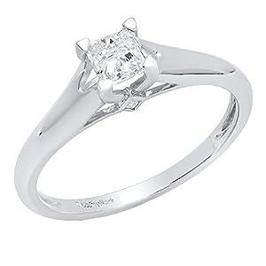 0.50 Carat (ctw) 18K White Gold Princess Diamond Solitaire Engagement Ring 1/2 CT (Size 5.5)