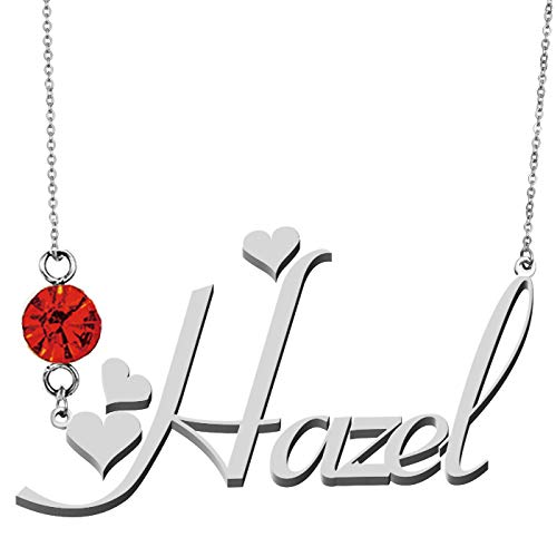 HUAN XUN Charm Silver Plated Customized Name Necklaces Hazel ()