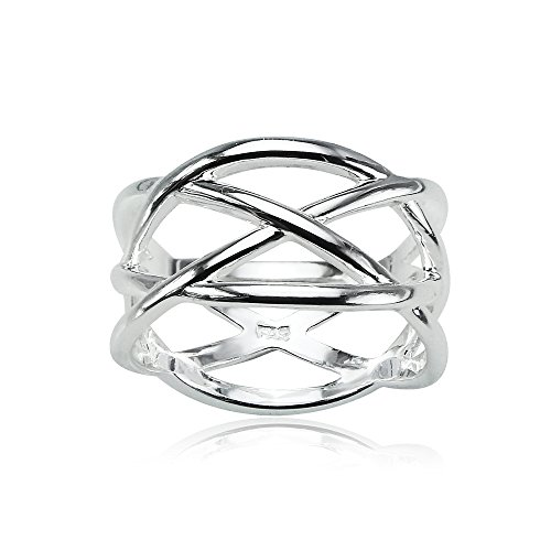 Double Sterling Cross Silver (Sterling Silver Polished Criss Cross Double X Ring, Size 7)