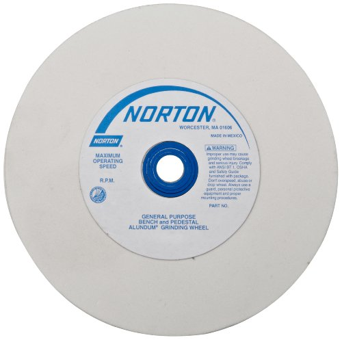 "Norton 07660788263 (38A) Premium Alundum Type 01 Bench and Pedestal Grinding Wheel, Very Fine Grit, White Aluminum Oxide Abrasive, 1"" Arbor Hole, 6"" Diameter x 1"" Thick"