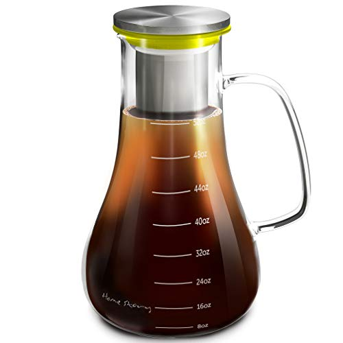 Cold Brew Coffee Maker Yellow - Glass Cold Brew Maker Pitcher 52 oz - Iced Coffee Maker Brewer Kit - Works Even as Large Cold Press Coffee Maker Pot or Hot Iced Tea Infuser Carafe