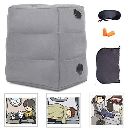 NIUMI Inflatable Travel Foot Rest Pillow | Kids Airplane Bed | 2-Pack Available | Adjustable Height Leg Pillow | Make a Flat Bed for Baby Kids, Toddlers | Great for Airplane, Train, car (Grey-1 Pack)